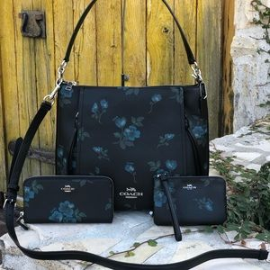 NWT Coach floral handbag&wallet&wristlet